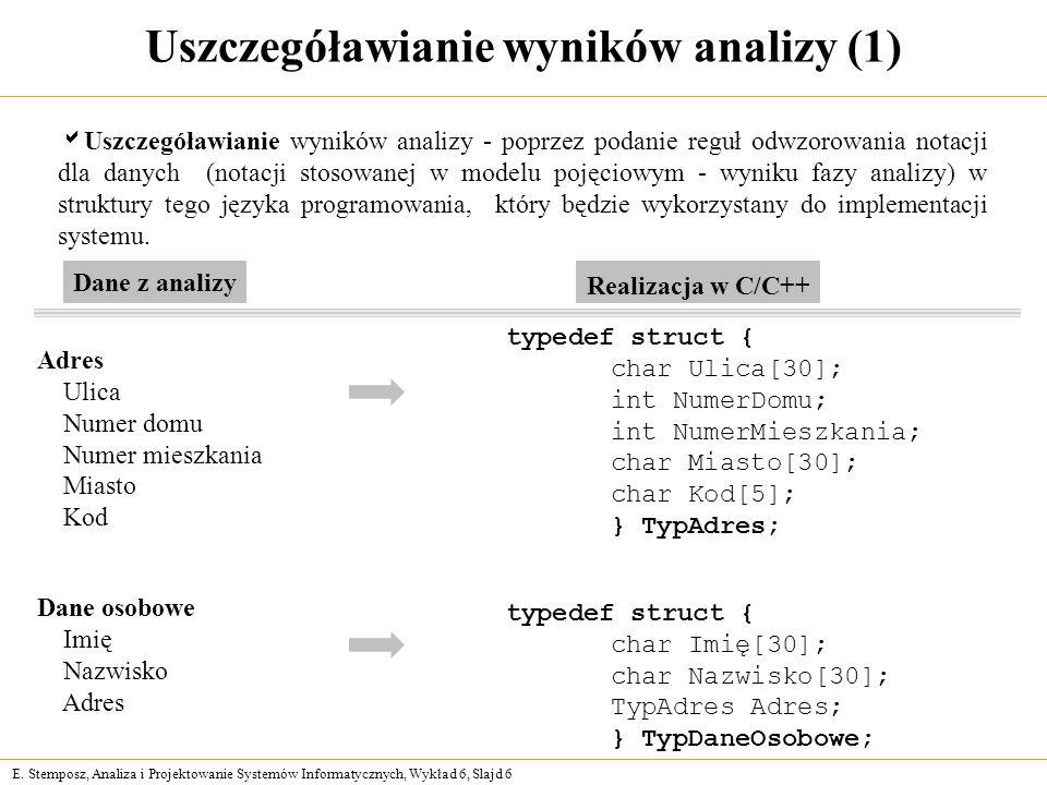 Uszczegóławianie wyników analizy (1)