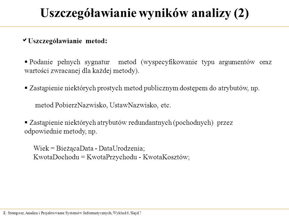 Uszczegóławianie wyników analizy (2)