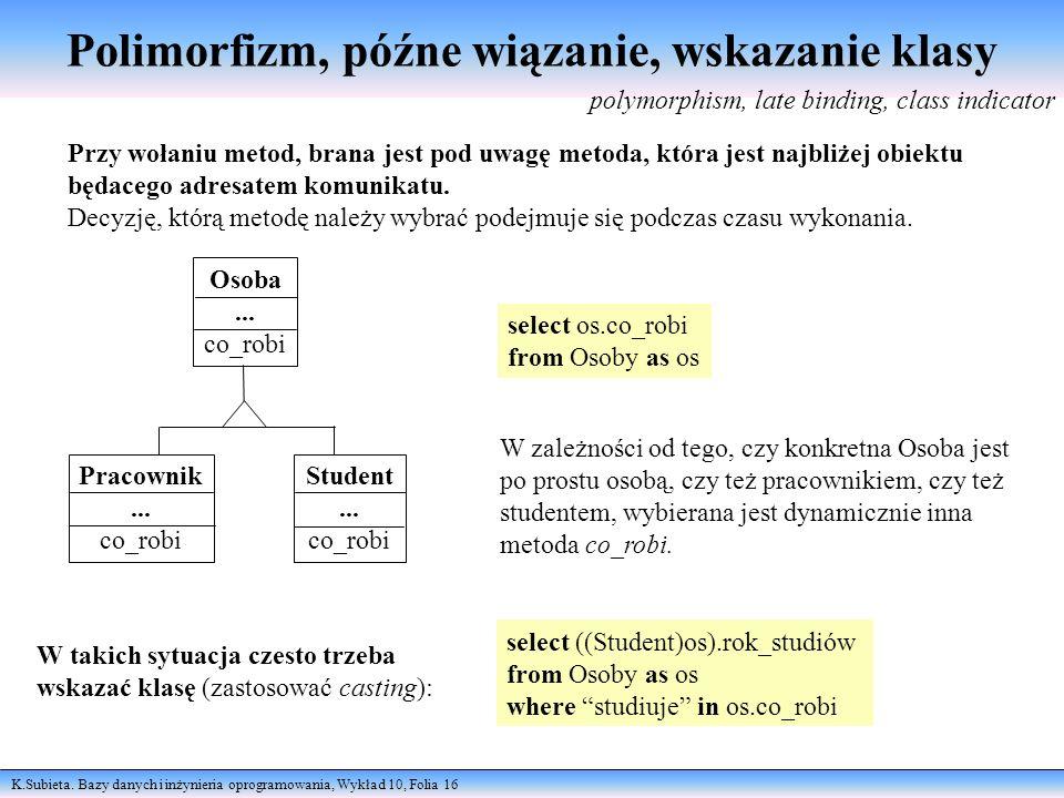Polimorfizm, późne wiązanie, wskazanie klasy