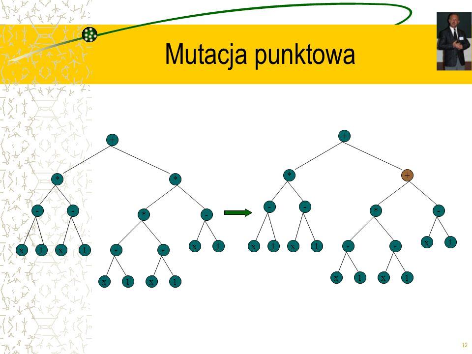 Mutacja punktowa + + * + * * - - - - * - * - x 1 x 1 x 1 x 1 - - x 1 x