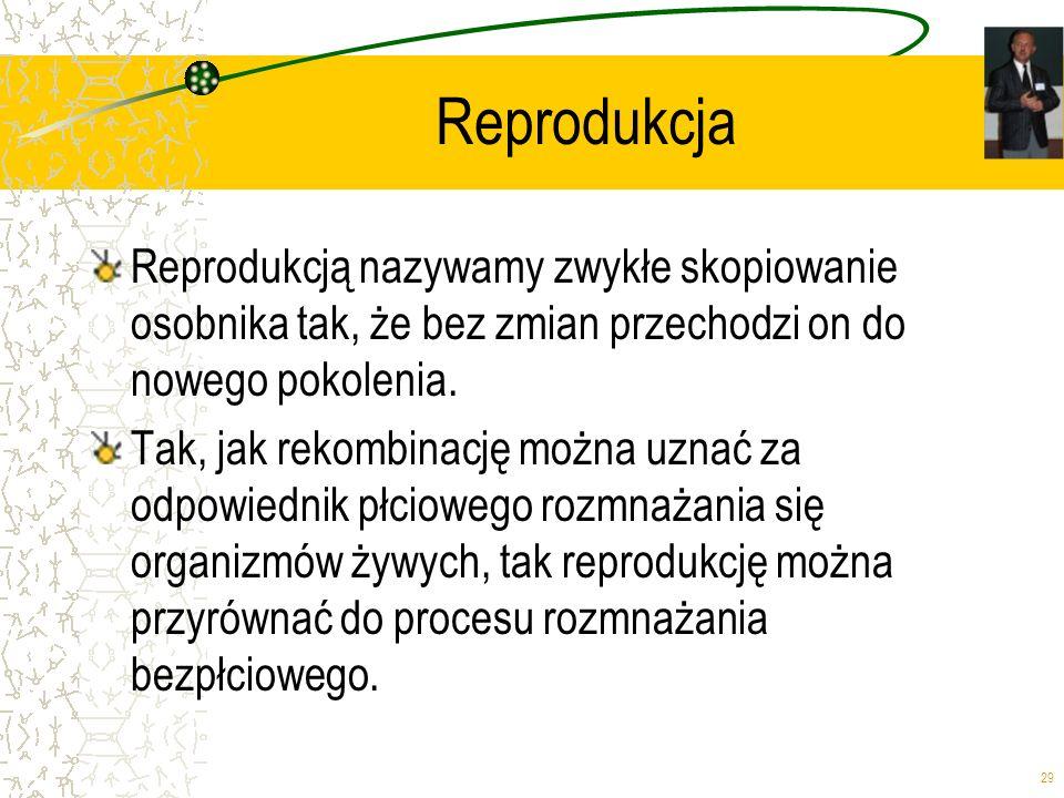 Reprodukcja Reprodukcją nazywamy zwykłe skopiowanie osobnika tak, że bez zmian przechodzi on do nowego pokolenia.