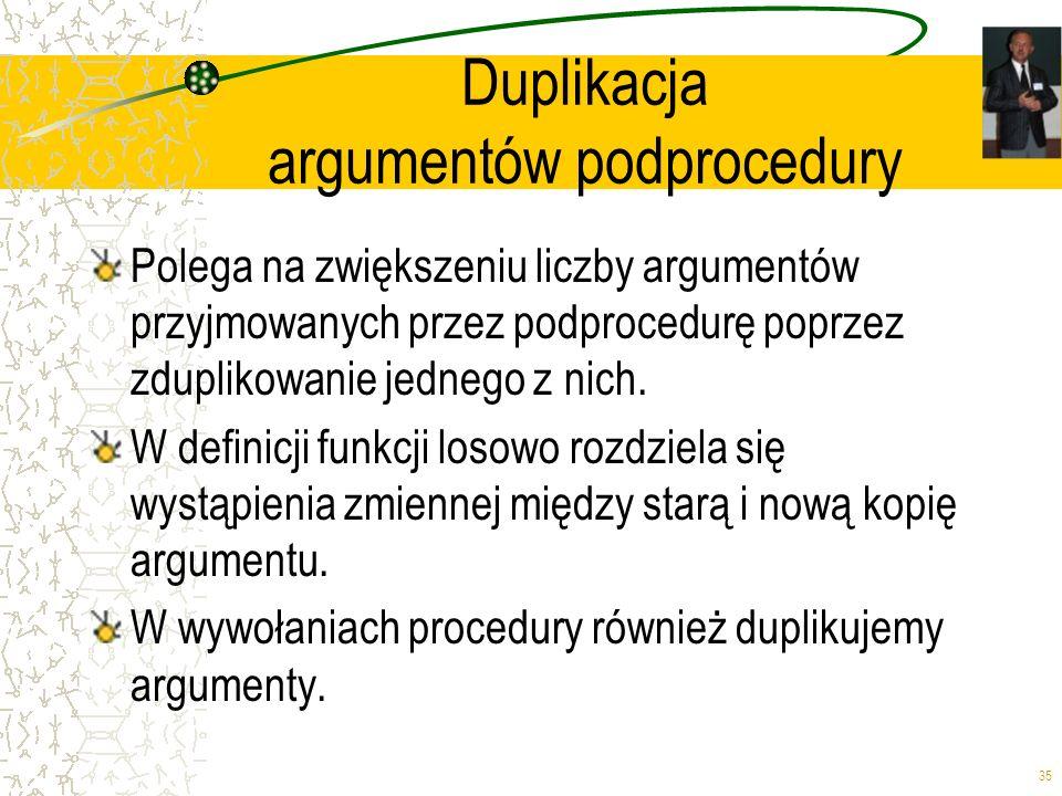 Duplikacja argumentów podprocedury