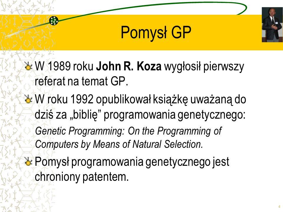 Pomysł GP W 1989 roku John R. Koza wygłosił pierwszy referat na temat GP.