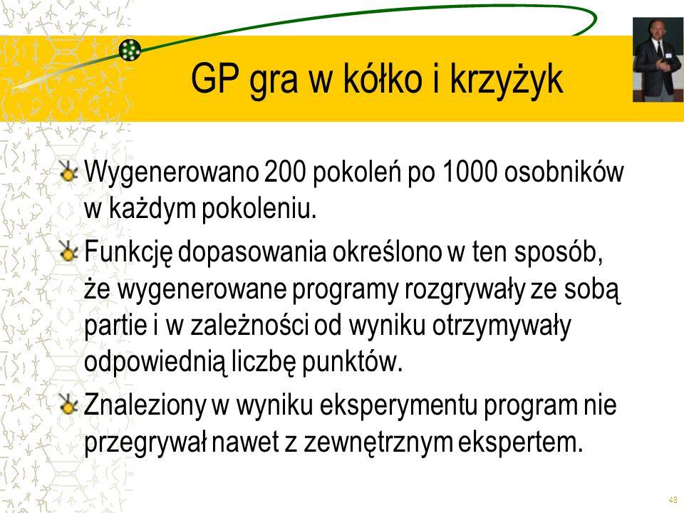 GP gra w kółko i krzyżyk Wygenerowano 200 pokoleń po 1000 osobników w każdym pokoleniu.