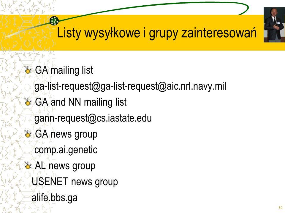 Listy wysyłkowe i grupy zainteresowań