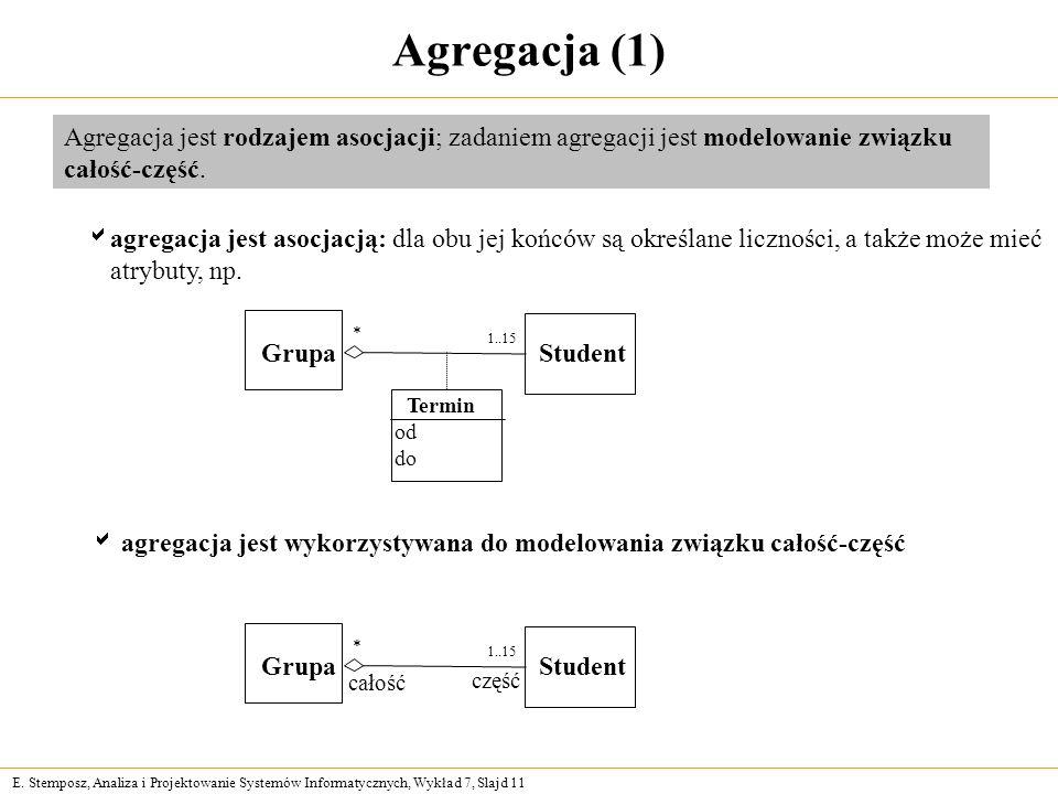Agregacja (1)Agregacja jest rodzajem asocjacji; zadaniem agregacji jest modelowanie związku całość-część.