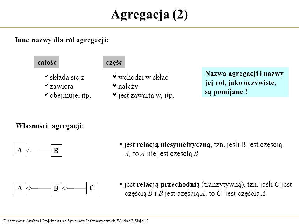 Agregacja (2) Inne nazwy dla ról agregacji: całość część