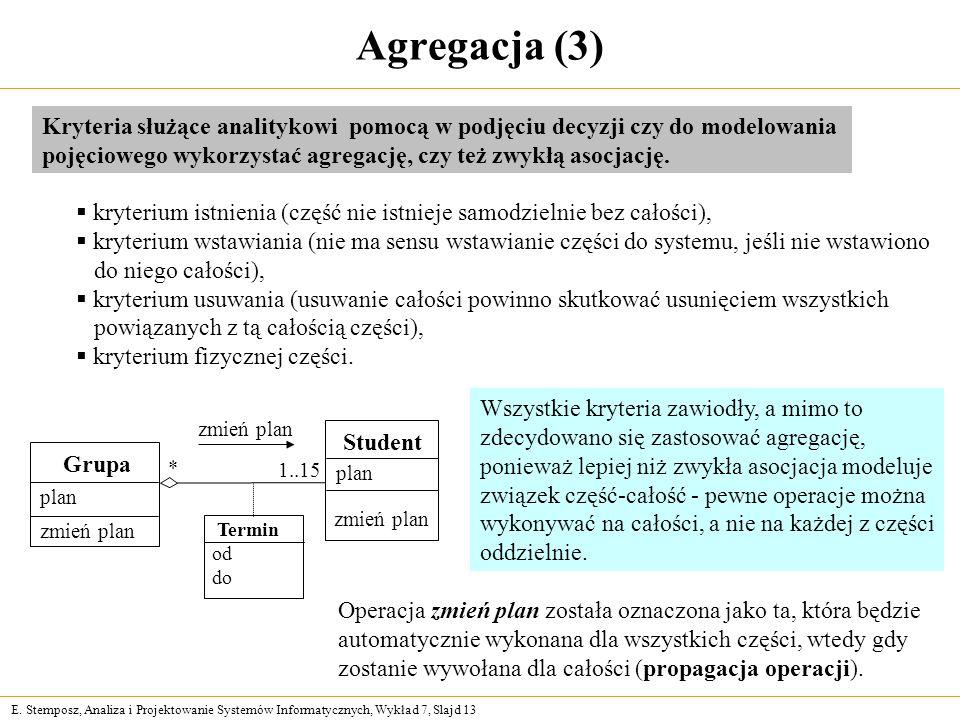 Agregacja (3) Kryteria służące analitykowi pomocą w podjęciu decyzji czy do modelowania.