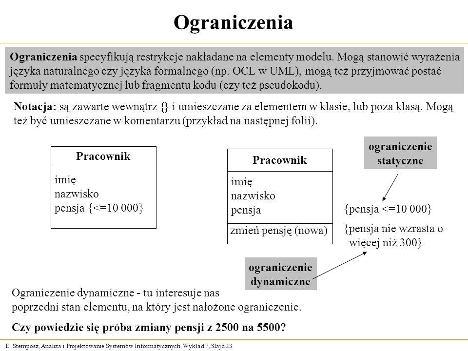 Ograniczenia Ograniczenia specyfikują restrykcje nakładane na elementy modelu. Mogą stanowić wyrażenia.