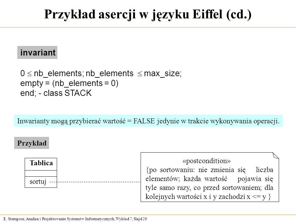 Przykład asercji w języku Eiffel (cd.)