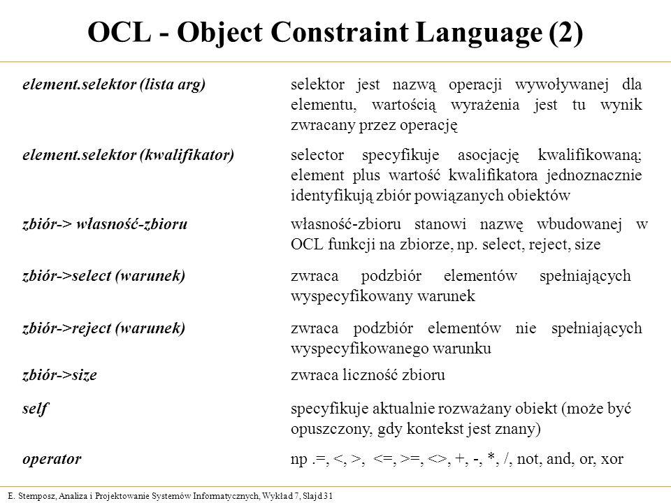 OCL - Object Constraint Language (2)