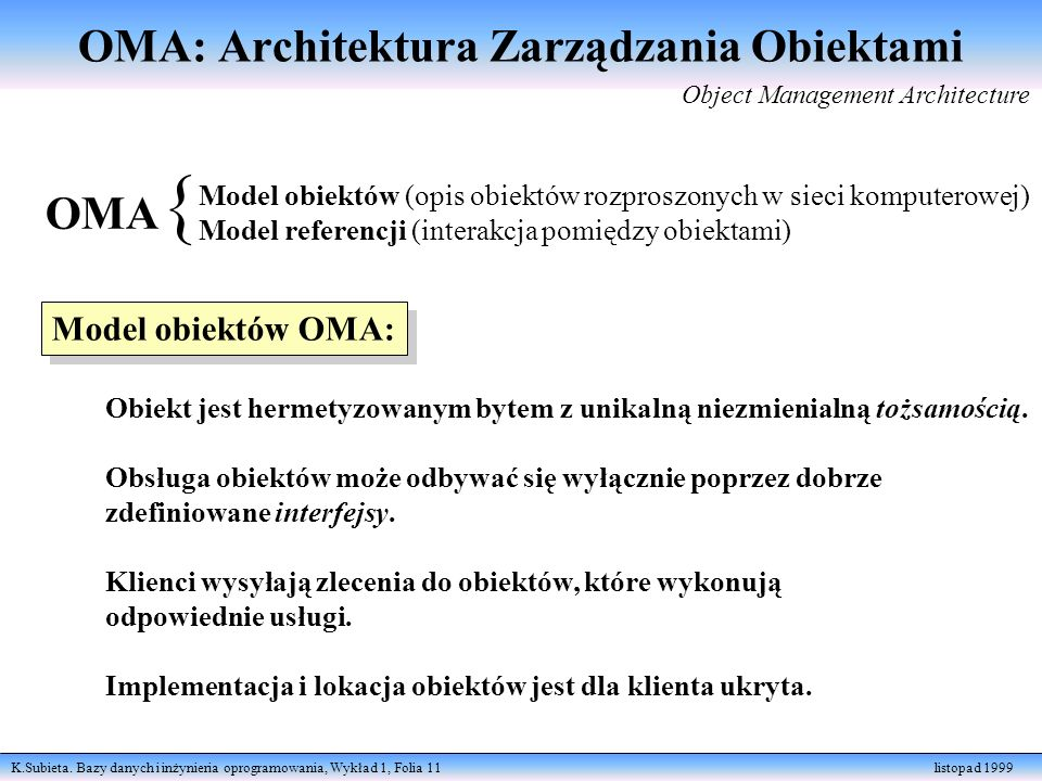 OMA: Architektura Zarządzania Obiektami