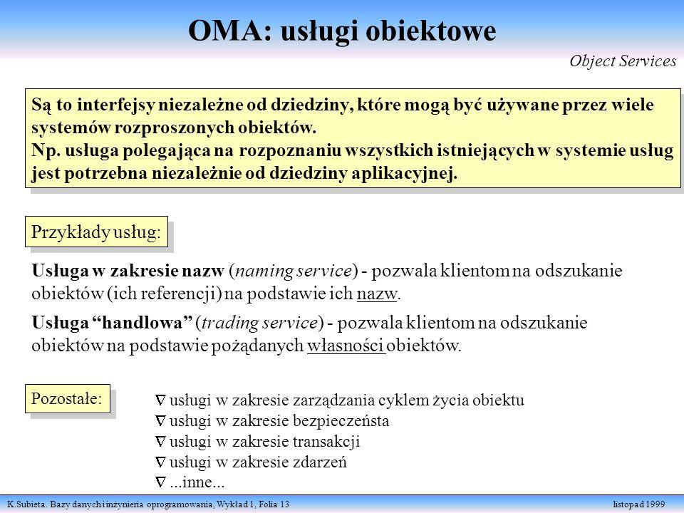 OMA: usługi obiektowe Object Services. Są to interfejsy niezależne od dziedziny, które mogą być używane przez wiele.