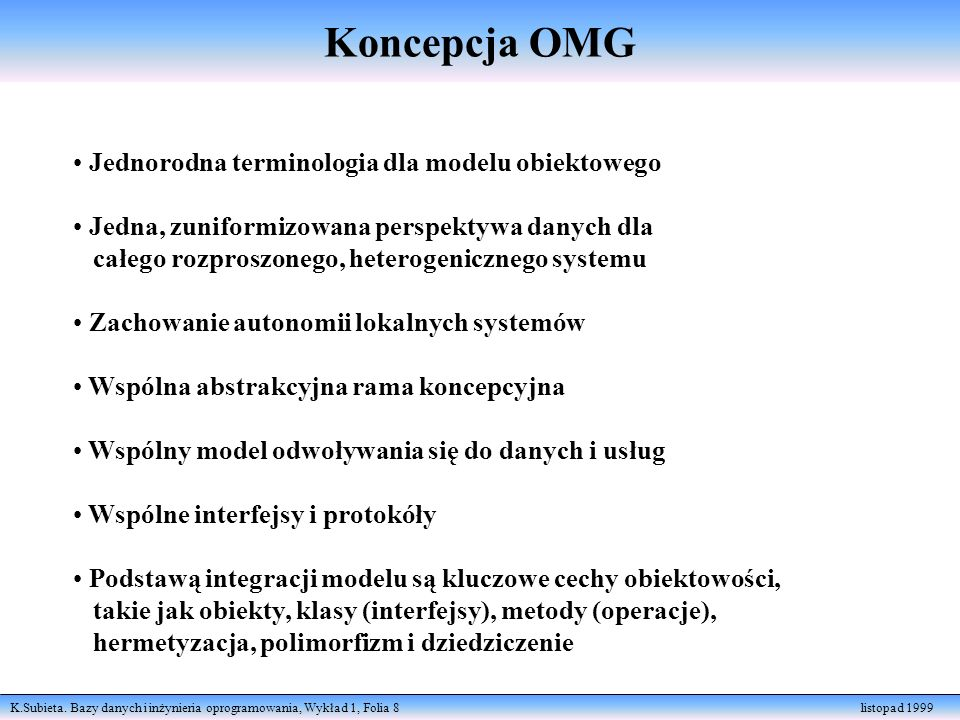 Koncepcja OMG Jednorodna terminologia dla modelu obiektowego