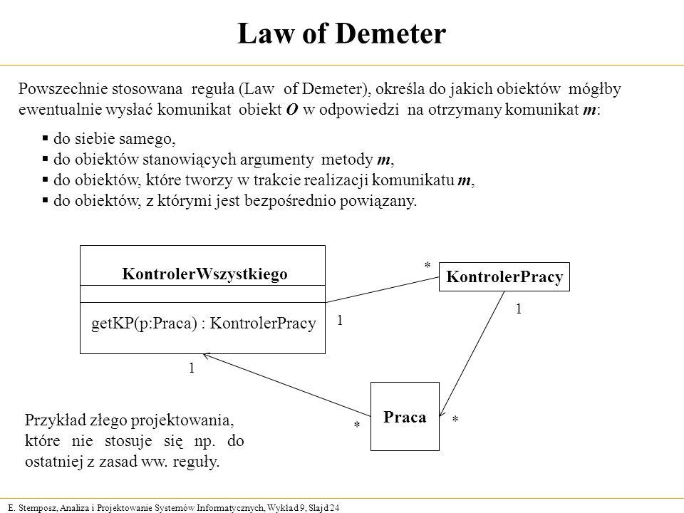 Law of Demeter Powszechnie stosowana reguła (Law of Demeter), określa do jakich obiektów mógłby.