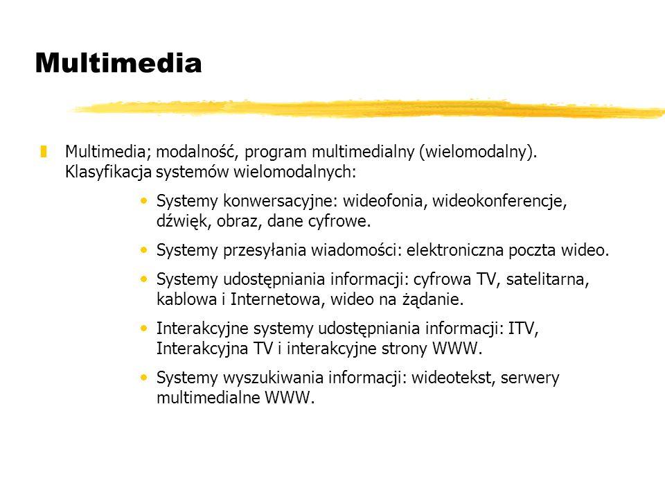 Multimedia Multimedia; modalność, program multimedialny (wielomodalny). Klasyfikacja systemów wielomodalnych: