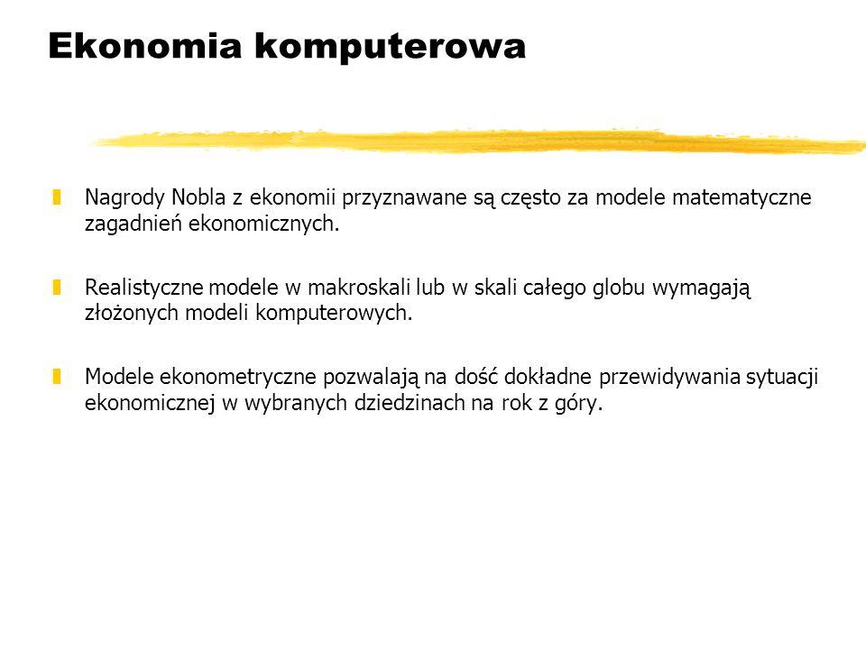 Ekonomia komputerowa Nagrody Nobla z ekonomii przyznawane są często za modele matematyczne zagadnień ekonomicznych.