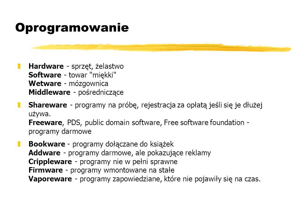 Oprogramowanie Hardware - sprzęt, żelastwo Software - towar miękki Wetware - mózgownica Middleware - pośredniczące.