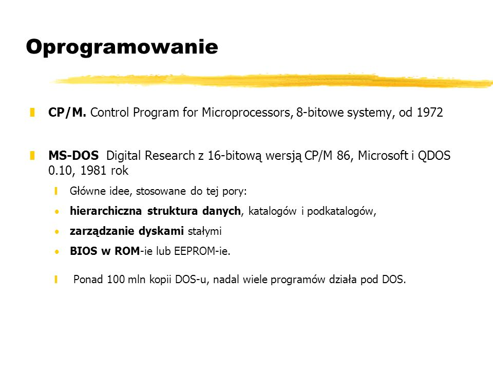 Oprogramowanie CP/M. Control Program for Microprocessors, 8-bitowe systemy, od 1972.