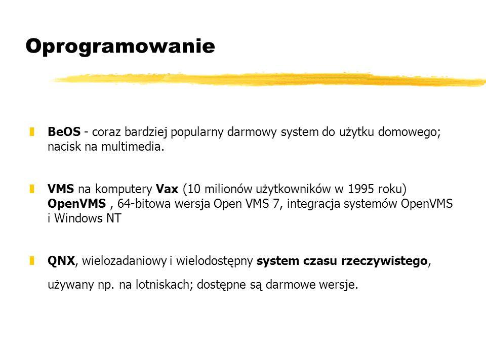 Oprogramowanie BeOS - coraz bardziej popularny darmowy system do użytku domowego; nacisk na multimedia.