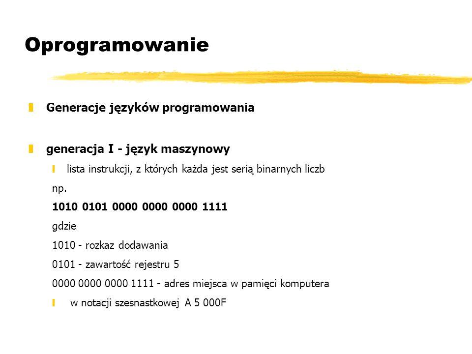 Oprogramowanie Generacje języków programowania
