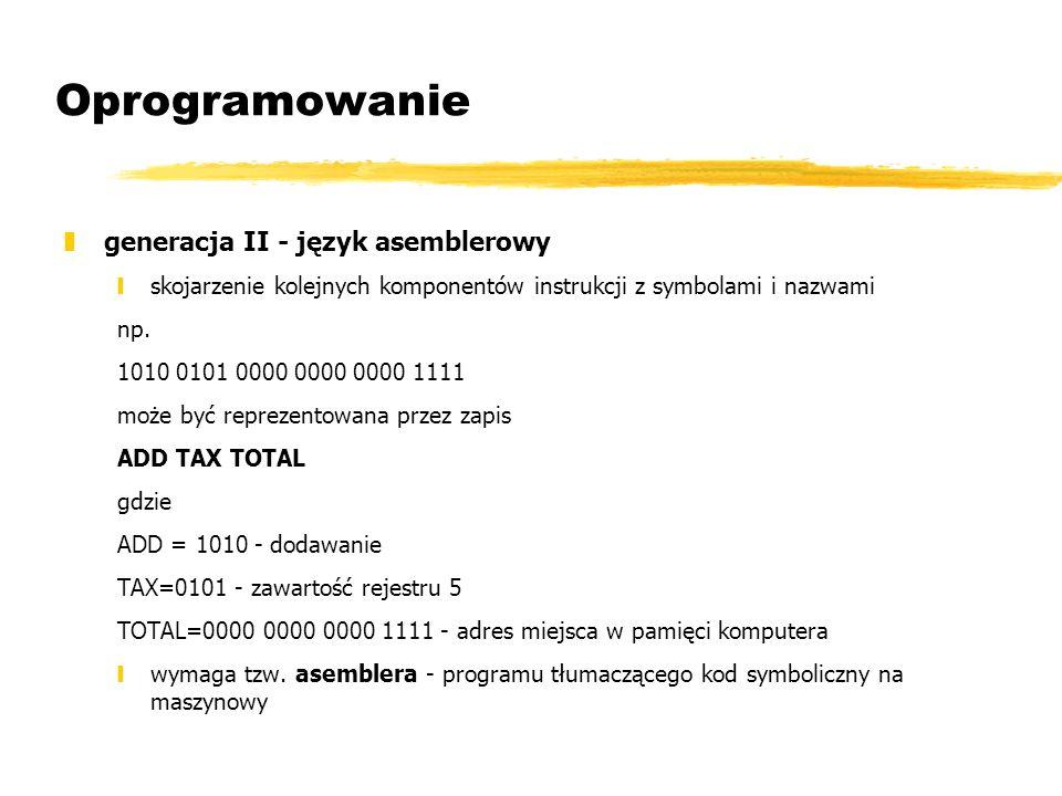 Oprogramowanie generacja II - język asemblerowy