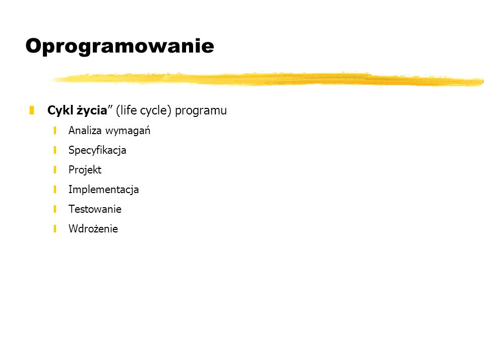 Oprogramowanie Cykl życia (life cycle) programu Analiza wymagań