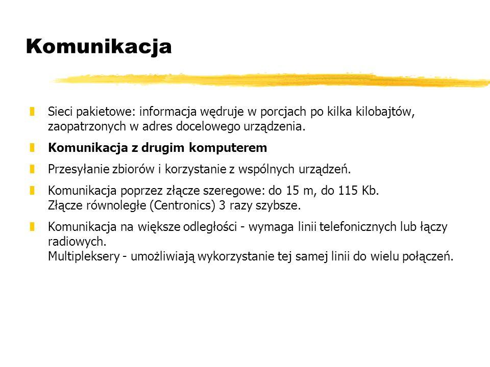 Komunikacja Sieci pakietowe: informacja wędruje w porcjach po kilka kilobajtów, zaopatrzonych w adres docelowego urządzenia.