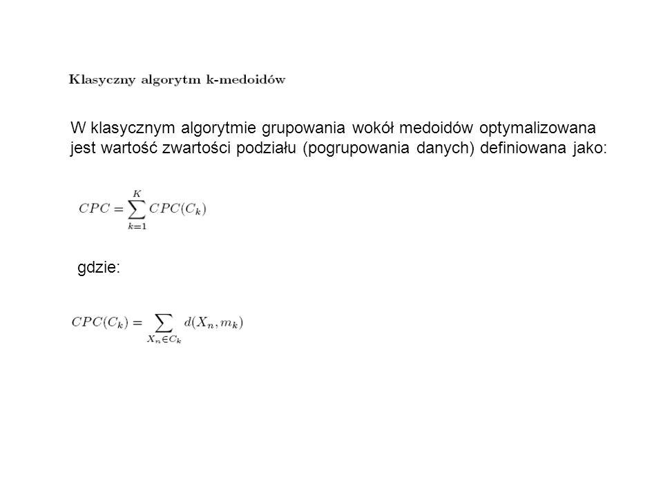 W klasycznym algorytmie grupowania wokół medoidów optymalizowana
