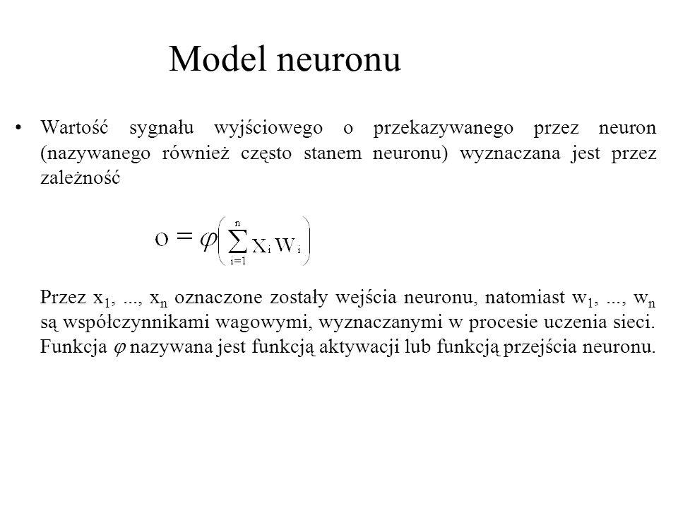 Model neuronu Wartość sygnału wyjściowego o przekazywanego przez neuron (nazywanego również często stanem neuronu) wyznaczana jest przez zależność.