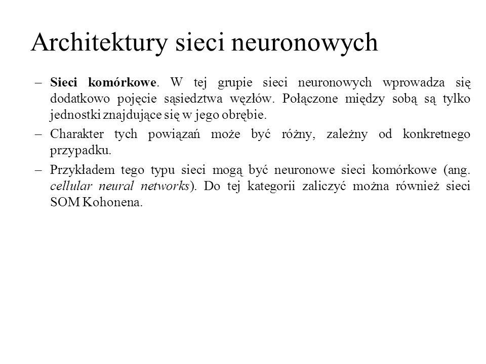 Architektury sieci neuronowych