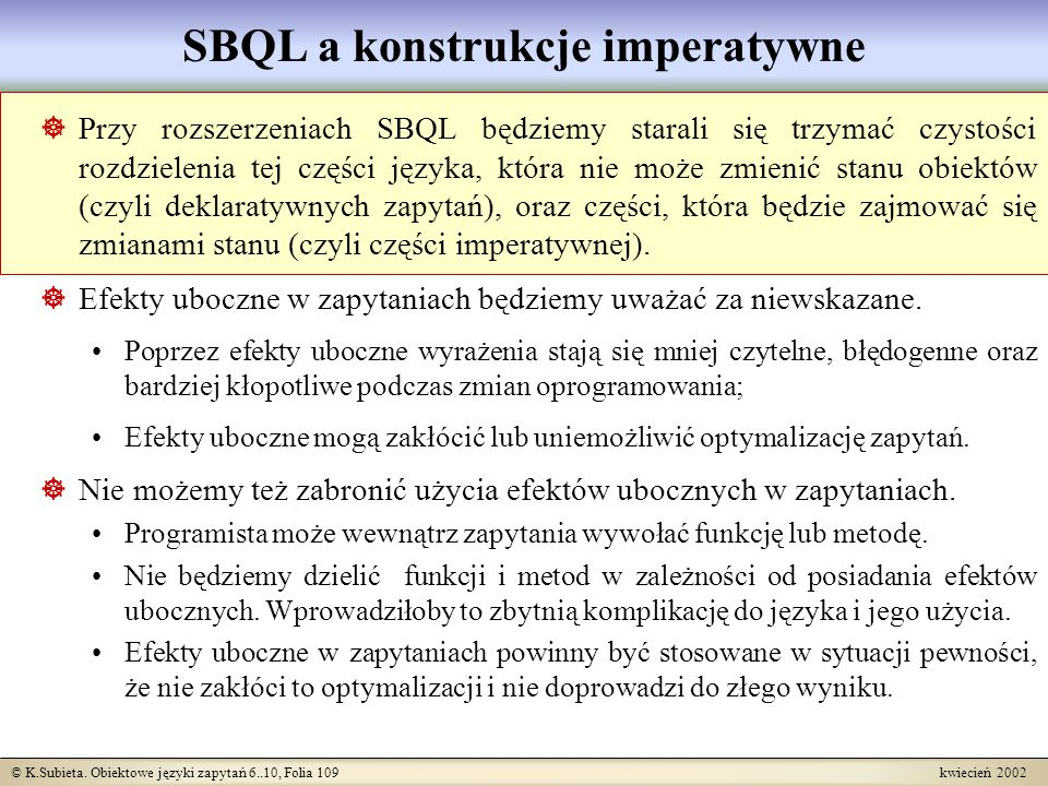 SBQL a konstrukcje imperatywne
