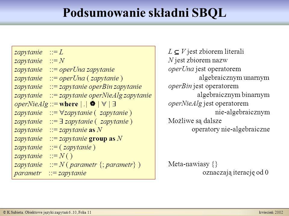 Podsumowanie składni SBQL
