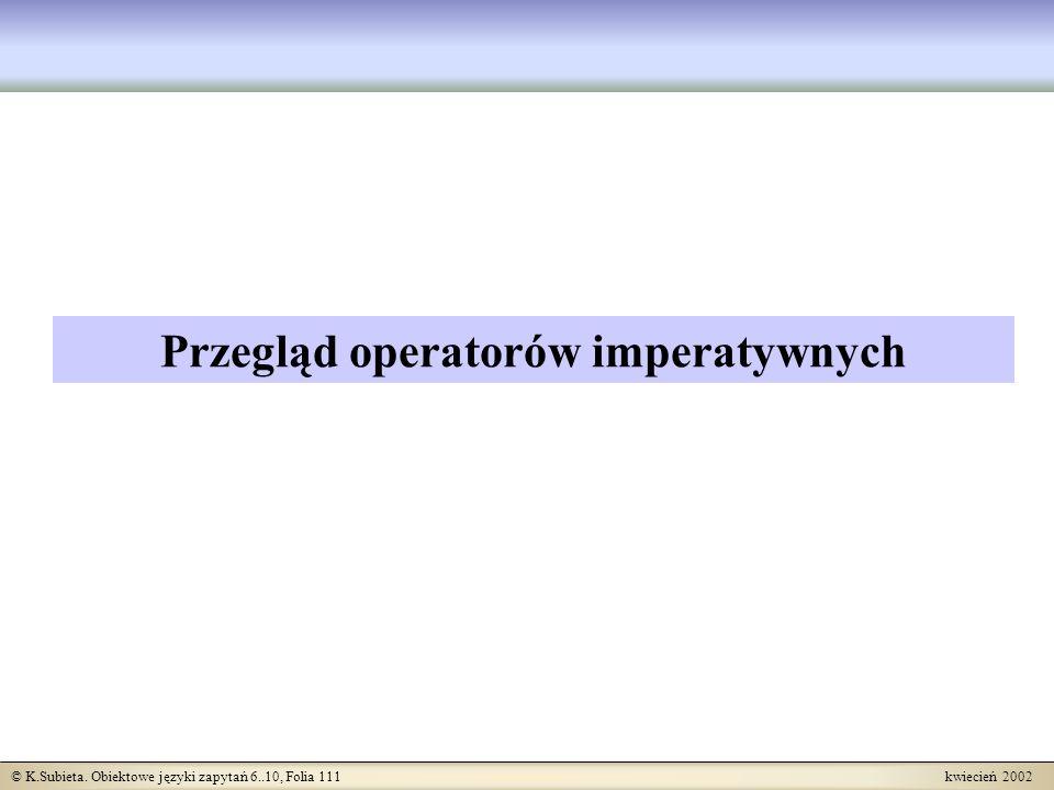 Przegląd operatorów imperatywnych