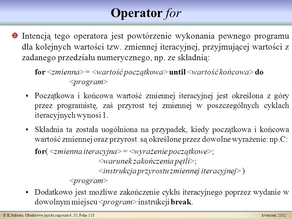 Operator for