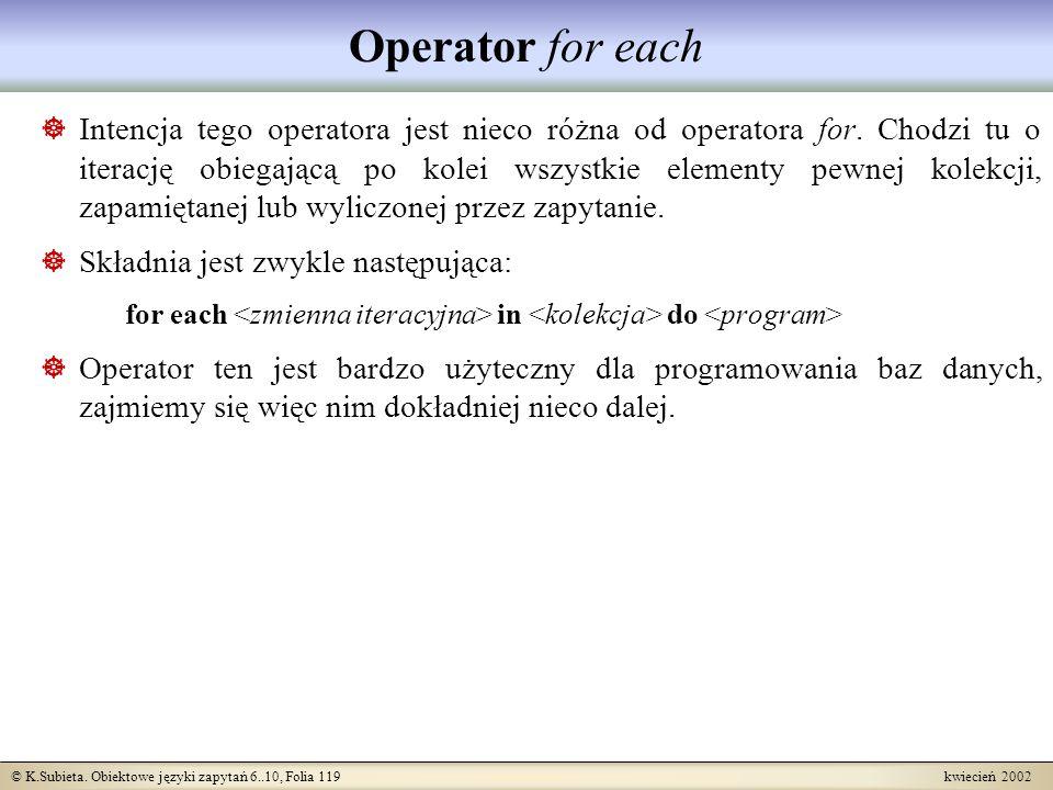 Operator for each