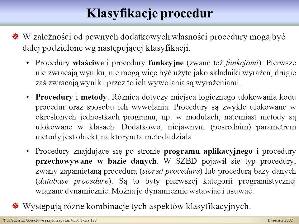 Klasyfikacje procedur