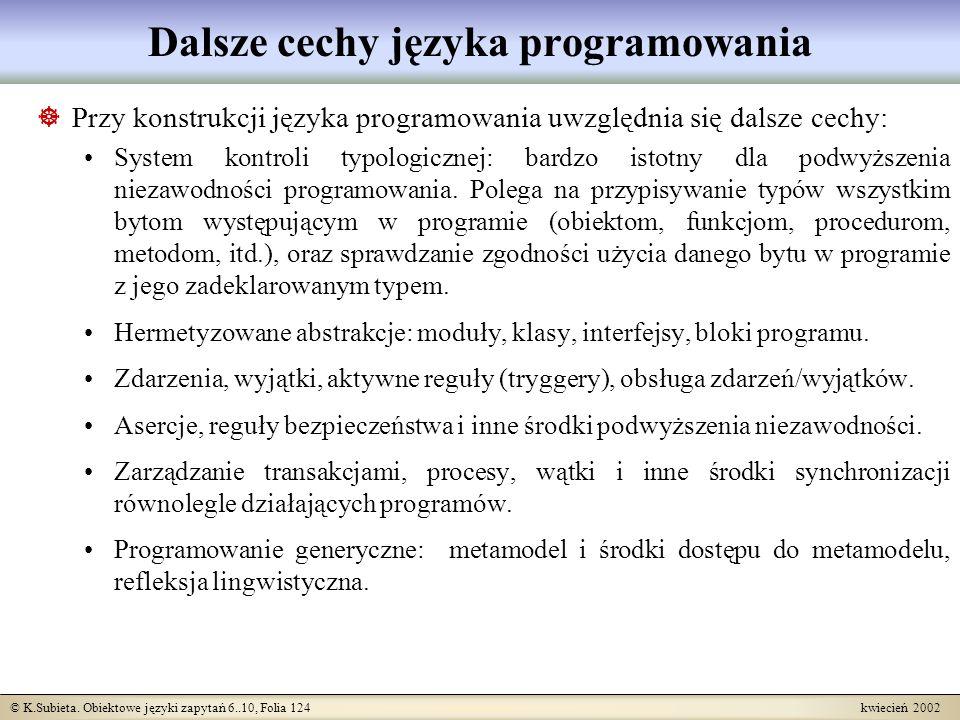 Dalsze cechy języka programowania