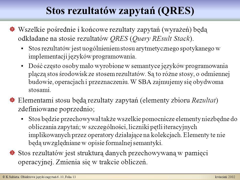 Stos rezultatów zapytań (QRES)