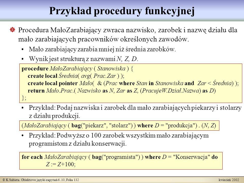 Przykład procedury funkcyjnej