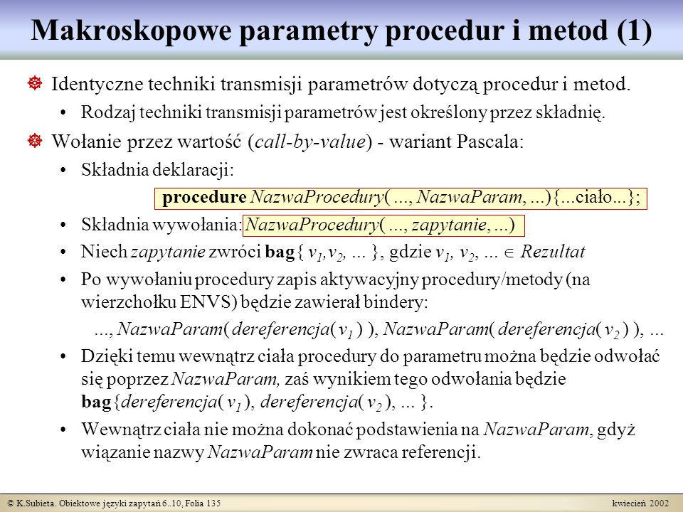 Makroskopowe parametry procedur i metod (1)