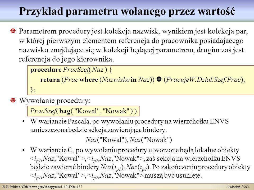 Przykład parametru wołanego przez wartość