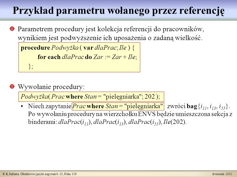 Przykład parametru wołanego przez referencję
