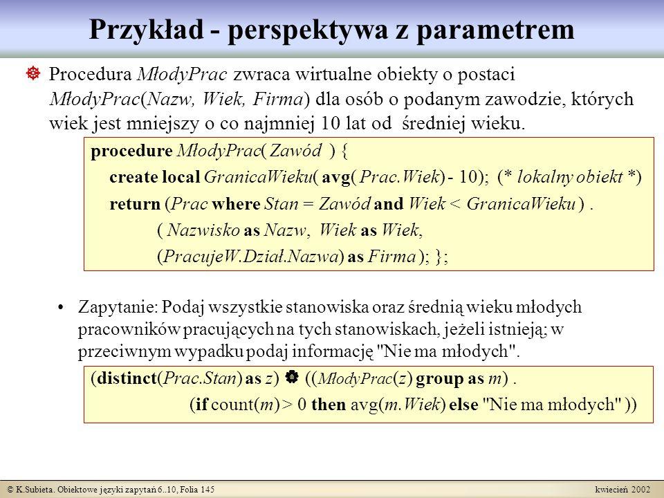 Przykład - perspektywa z parametrem