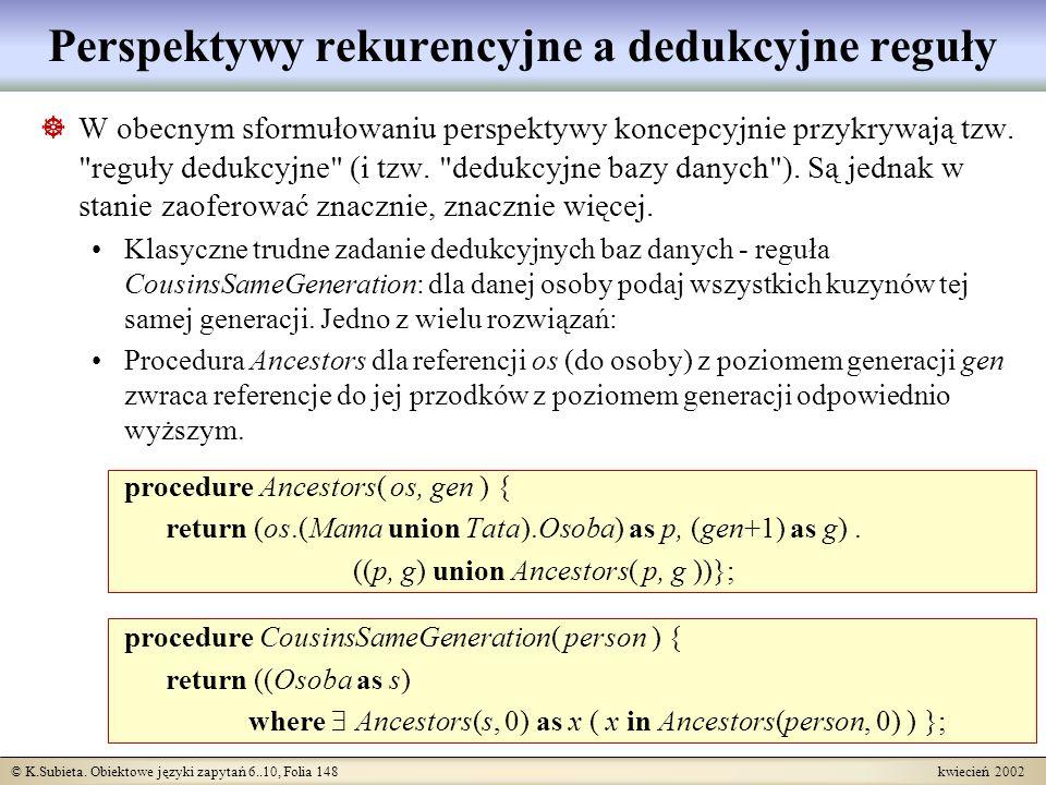 Perspektywy rekurencyjne a dedukcyjne reguły