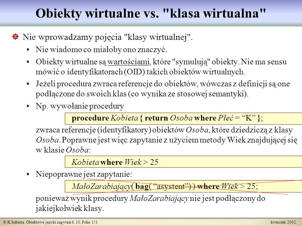 Obiekty wirtualne vs. klasa wirtualna