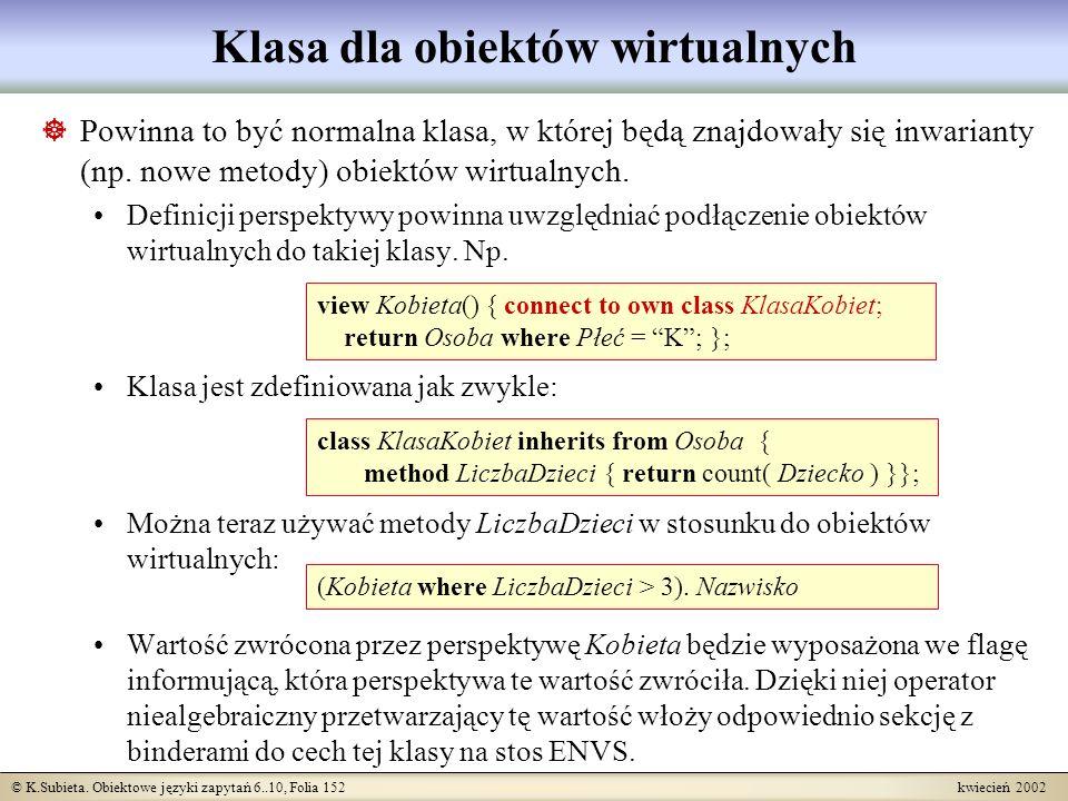 Klasa dla obiektów wirtualnych