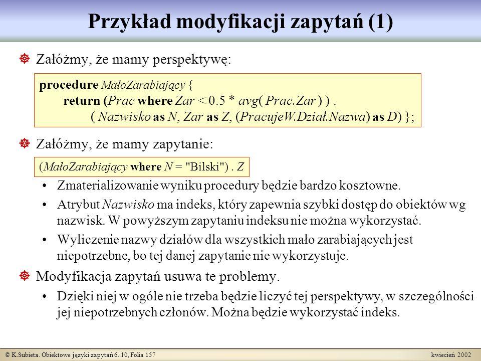 Przykład modyfikacji zapytań (1)