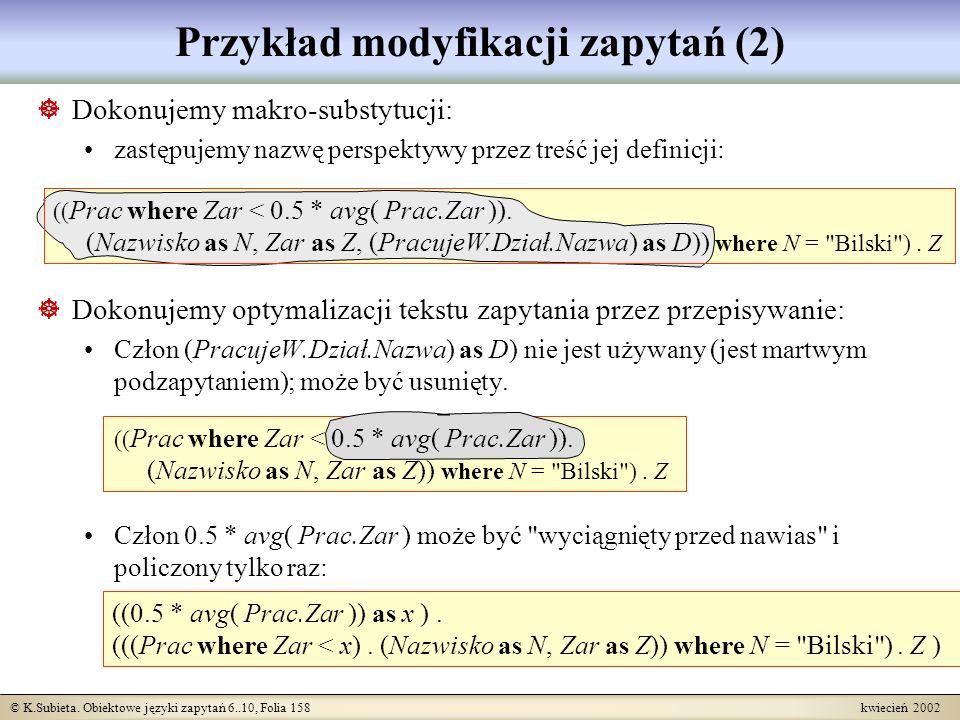 Przykład modyfikacji zapytań (2)