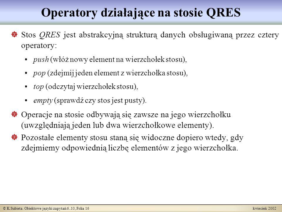 Operatory działające na stosie QRES